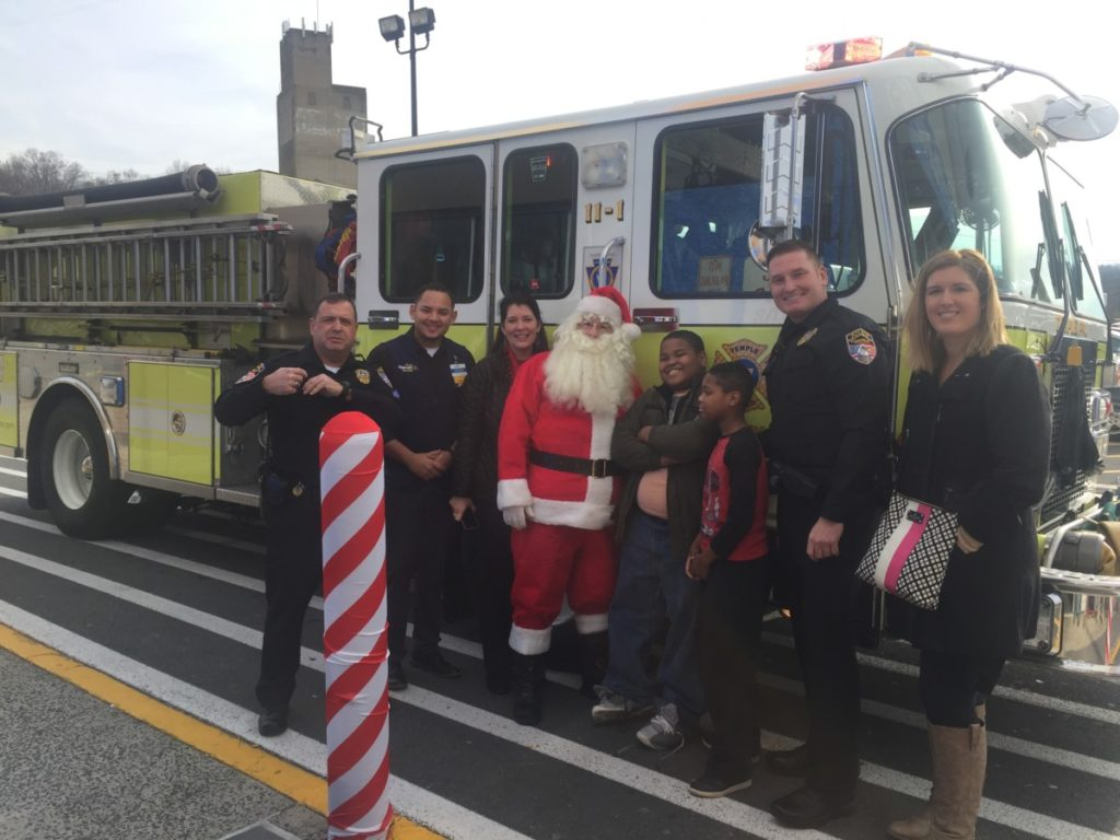 Temple Fire Delivers Santa for Muhlenberg Police and Lucky Students